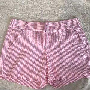 "J.Crew ""City Fit"" pink seersucker shorts size 4"